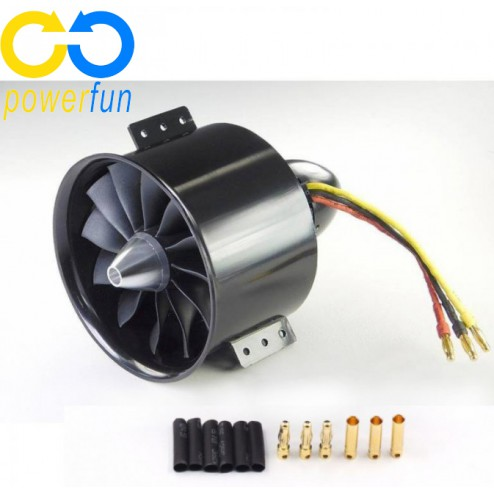 داکتد فن 90mm Powerfun EDF 90mm 12 Blades Ducted Fan با RC Brushless Motor 1450KV